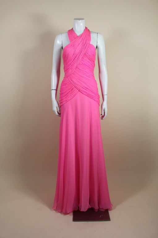 1980's Scaasi Hot Pink Chiffon Halter Gown image 3