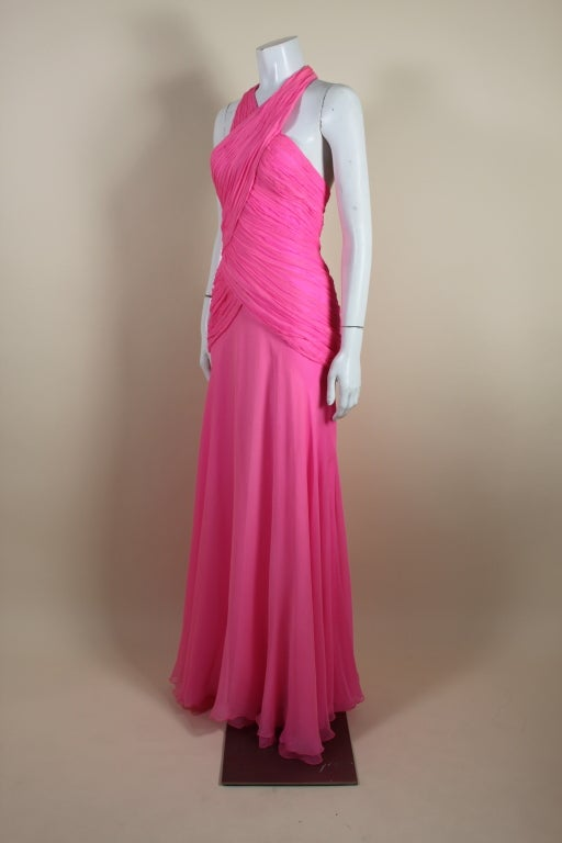 1980's Scaasi Hot Pink Chiffon Halter Gown image 4
