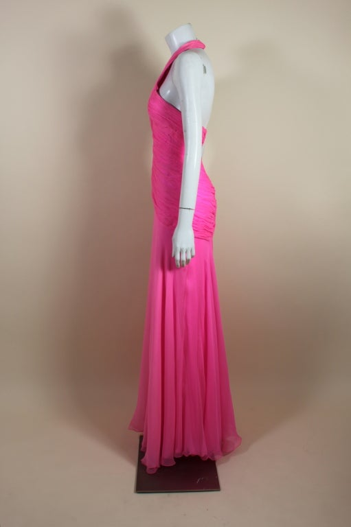1980's Scaasi Hot Pink Chiffon Halter Gown image 5