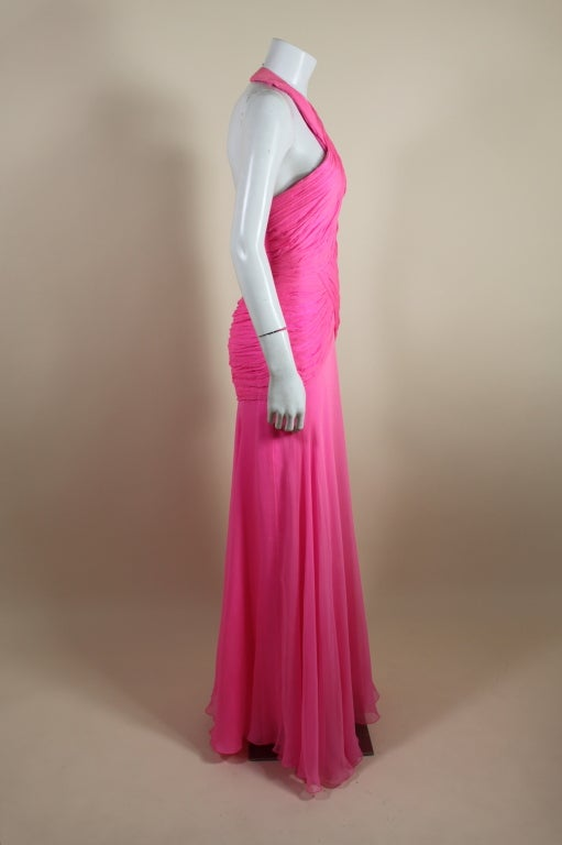 1980's Scaasi Hot Pink Chiffon Halter Gown image 6