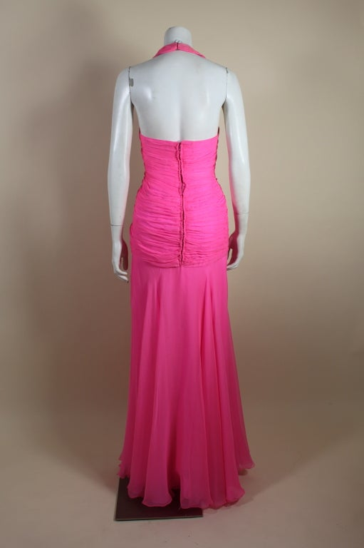 1980's Scaasi Hot Pink Chiffon Halter Gown image 7