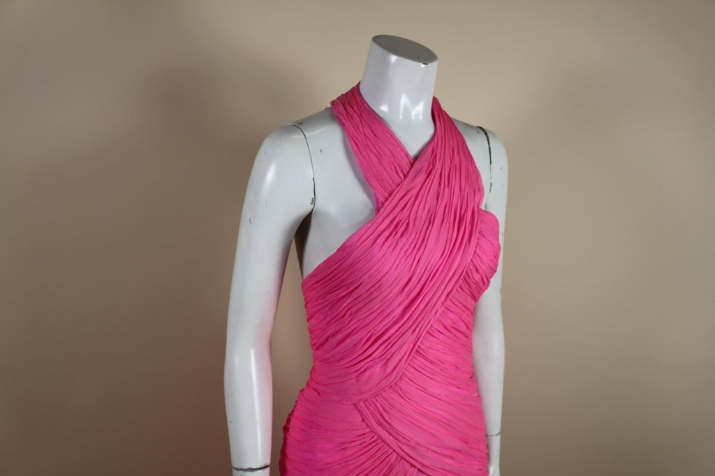 1980's Scaasi Hot Pink Chiffon Halter Gown image 8