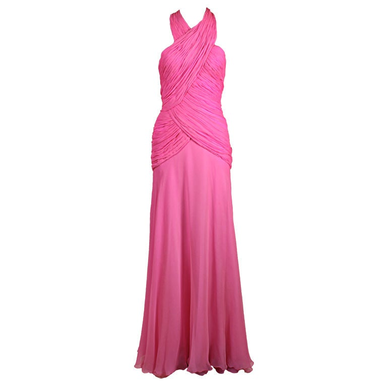 1980's Scaasi Hot Pink Chiffon Halter Gown