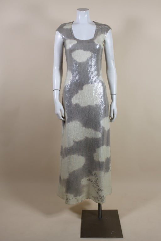 1970's Halston Sequined Wool Jersey Cloud Dress 2