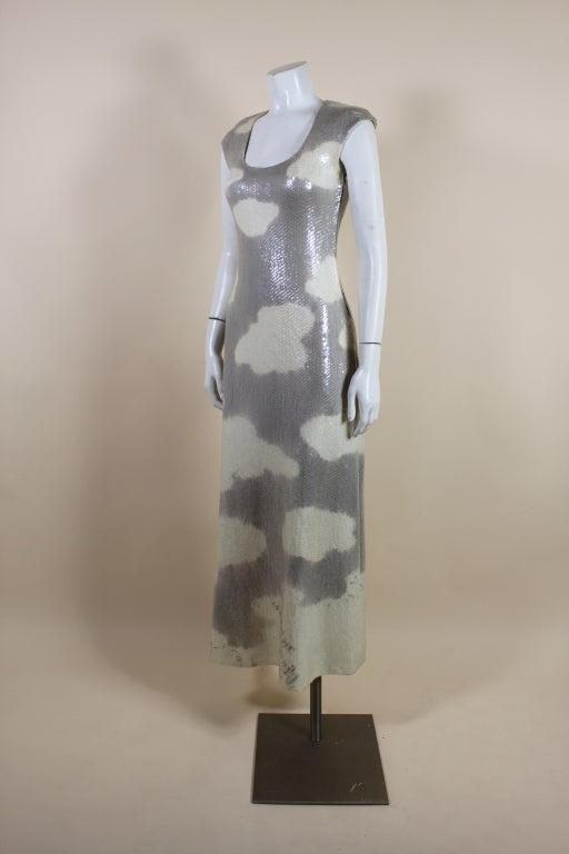 1970's Halston Sequined Wool Jersey Cloud Dress 3