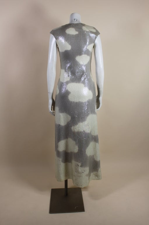 1970's Halston Sequined Wool Jersey Cloud Dress 6