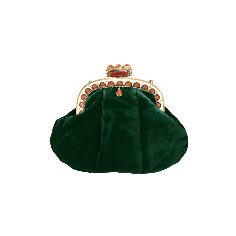 1940's Emerald Green Velvet Evening Bag with Ornate Frame 1