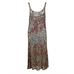 1920�s Beaded Gold Lamé Lace Flapper Dress