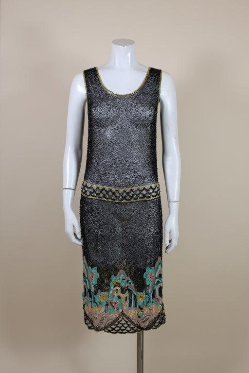 Fantastic 1920's Beaded Net Flapper Dress with Pastel Landscape 2