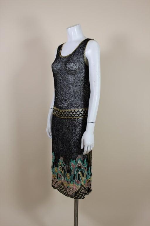 Fantastic 1920's Beaded Net Flapper Dress with Pastel Landscape 3