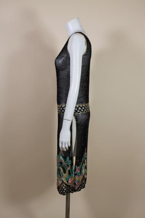 Fantastic 1920's Beaded Net Flapper Dress with Pastel Landscape 4