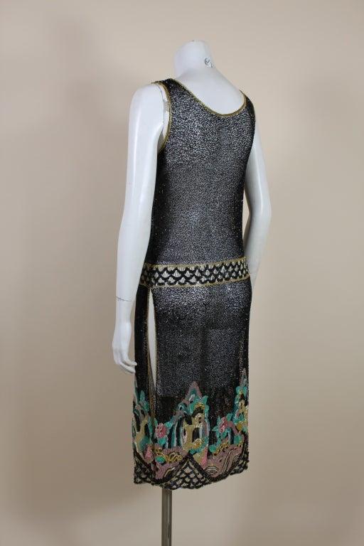 Fantastic 1920's Beaded Net Flapper Dress with Pastel Landscape 5