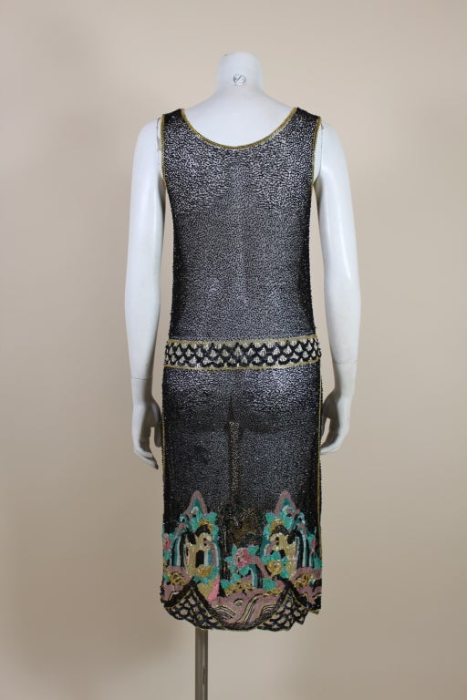 Fantastic 1920's Beaded Net Flapper Dress with Pastel Landscape 6