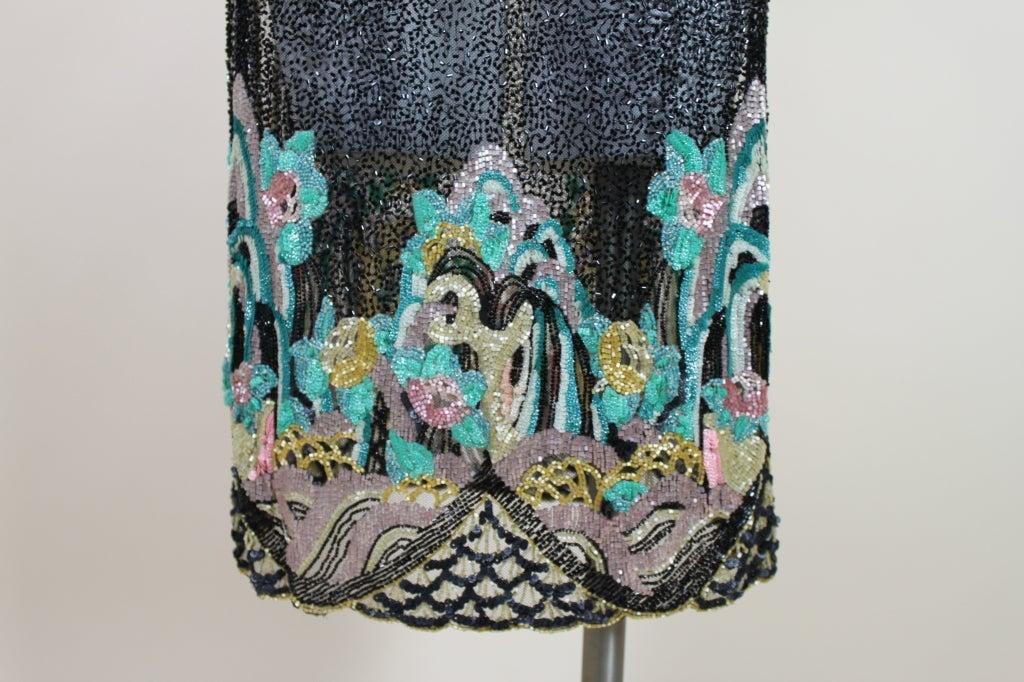 Fantastic 1920's Beaded Net Flapper Dress with Pastel Landscape 7