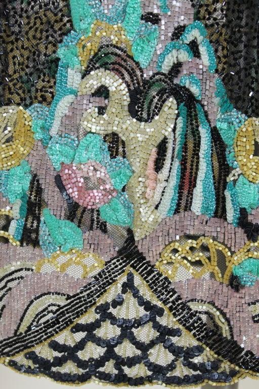 Fantastic 1920's Beaded Net Flapper Dress with Pastel Landscape 8