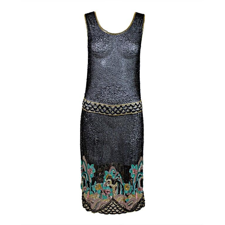 Fantastic 1920's Beaded Net Flapper Dress with Pastel Landscape 1