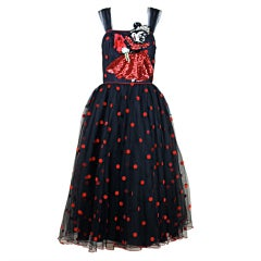 1980's Sequined Minnie Mouse Dot Net Party Dress