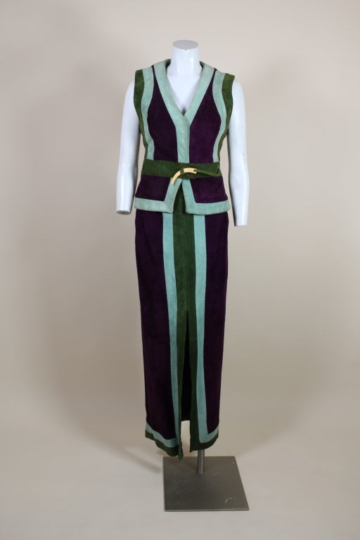 1970's Sant Angelo Suede Color Block Ensemble 2