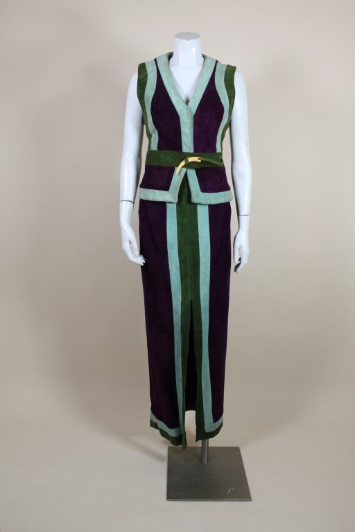 1970's Sant Angelo Suede Color Block Ensemble 3