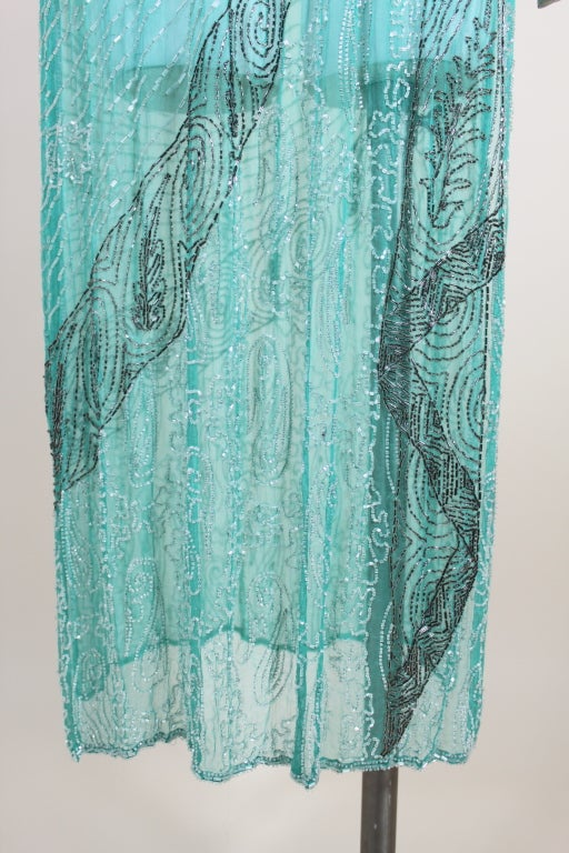 1920s Turquoise Tabard-Style Beaded Flapper Dress 10