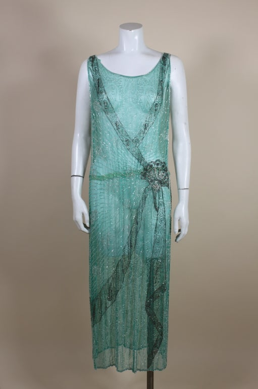 1920s Turquoise Tabard-Style Beaded Flapper Dress 2