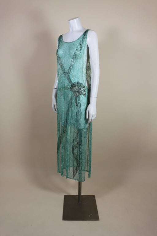 1920s Turquoise Tabard-Style Beaded Flapper Dress 3