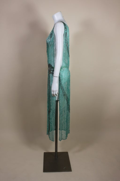 1920s Turquoise Tabard-Style Beaded Flapper Dress 4