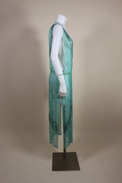 1920s Turquoise Tabard-Style Beaded Flapper Dress 5