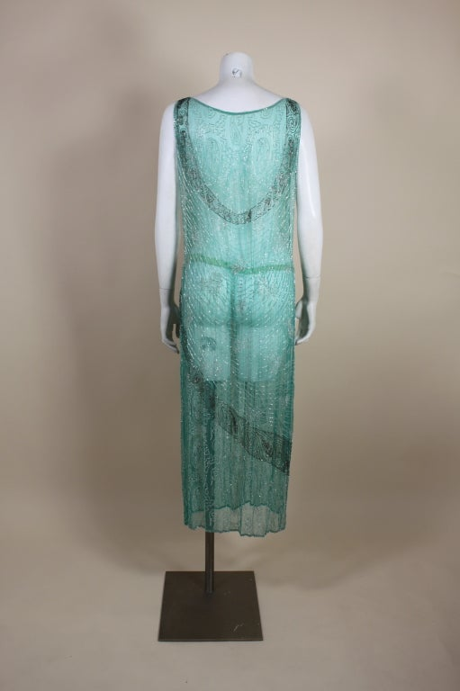 1920s Turquoise Tabard-Style Beaded Flapper Dress 6