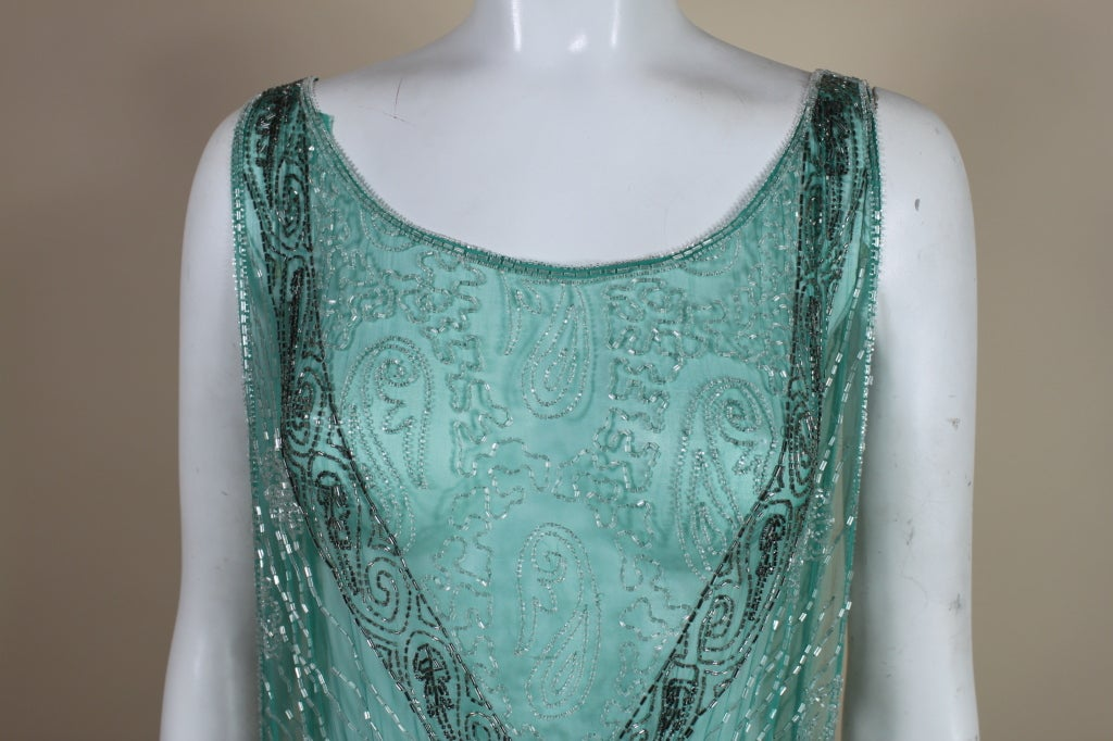 1920s Turquoise Tabard-Style Beaded Flapper Dress 7