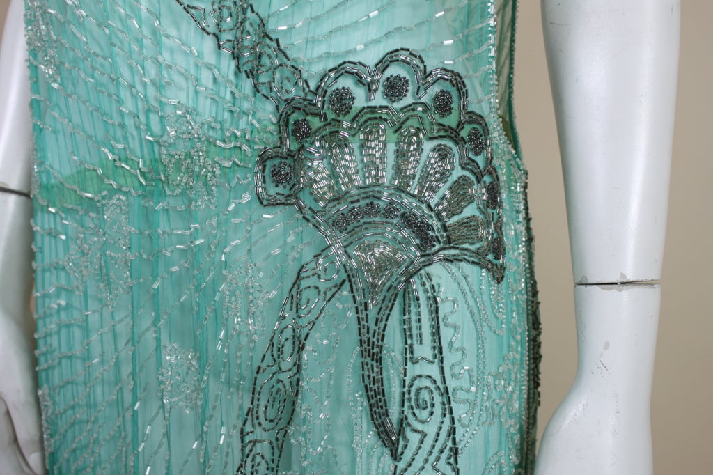 1920s Turquoise Tabard-Style Beaded Flapper Dress 8