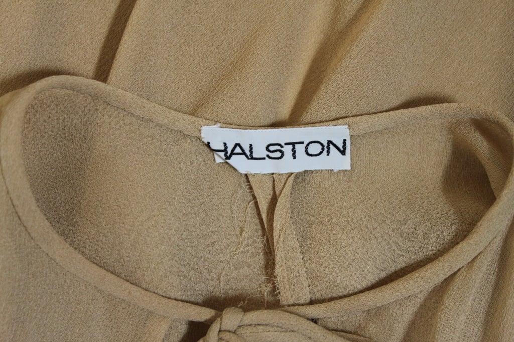 1970's Halston Nude Crepe Grecian Dress with Cape 10