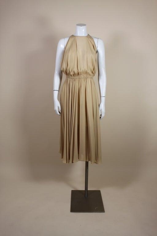 1970's Halston Nude Crepe Grecian Dress with Cape 2