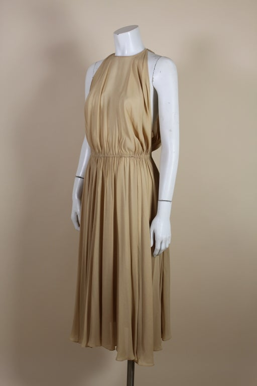 1970's Halston Nude Crepe Grecian Dress with Cape 3