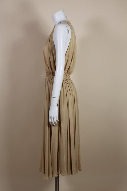 1970's Halston Nude Crepe Grecian Dress with Cape 4
