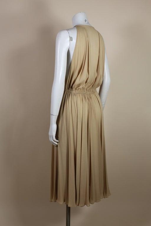 1970's Halston Nude Crepe Grecian Dress with Cape 5