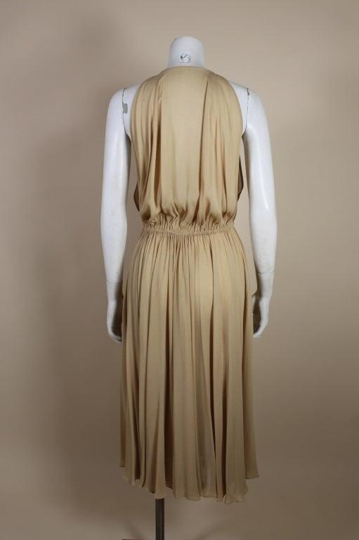 1970's Halston Nude Crepe Grecian Dress with Cape 6