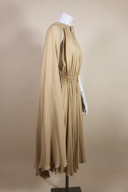 1970's Halston Nude Crepe Grecian Dress with Cape 7