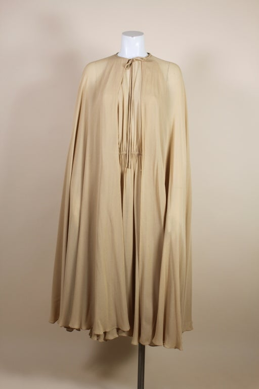 1970's Halston Nude Crepe Grecian Dress with Cape 8