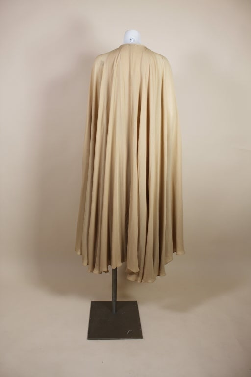 1970's Halston Nude Crepe Grecian Dress with Cape 9