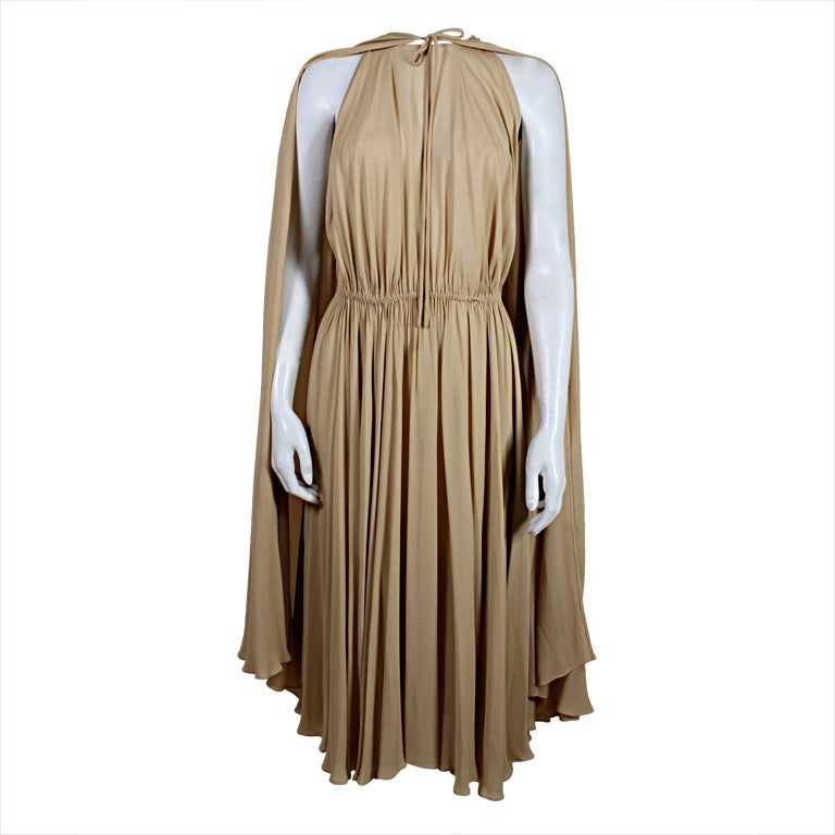 1970's Halston Nude Crepe Grecian Dress with Cape 1