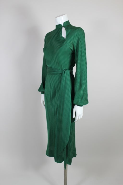 1970 S Halston Hunter Green Bias Cut Silk Jacquard Dress