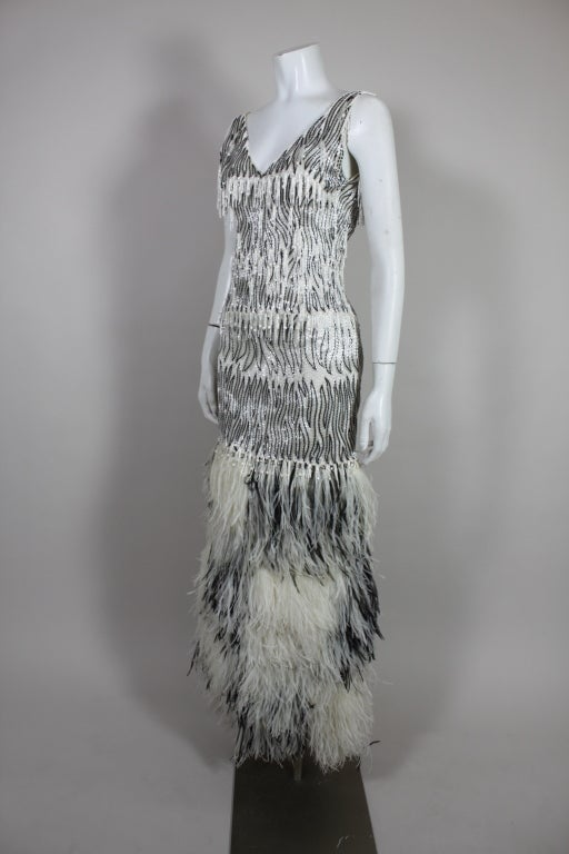 1960s Galanos Beaded Gown with Feather Fringe image 2
