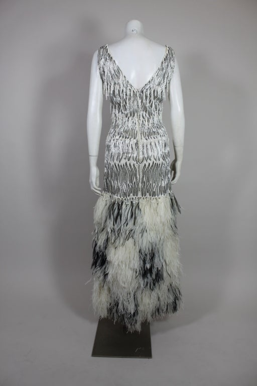 1960s Galanos Beaded Gown with Feather Fringe image 4