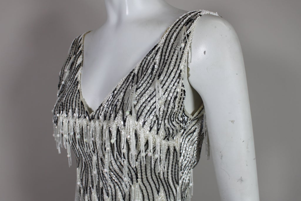 1960s Galanos Beaded Gown with Feather Fringe image 6
