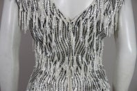 1960s Galanos Beaded Gown with Feather Fringe thumbnail 7