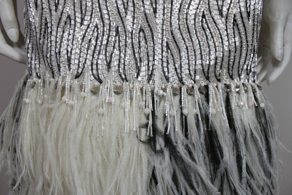 1960s Galanos Beaded Gown with Feather Fringe image 8