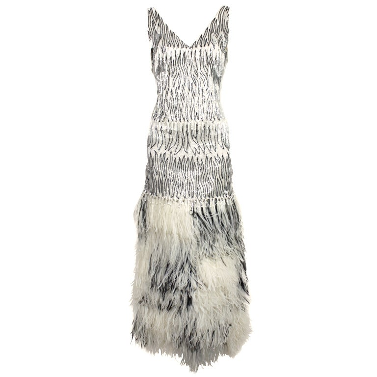 1960s Galanos Beaded Gown with Feather Fringe