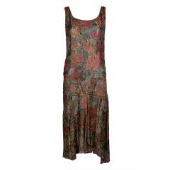 1920's Floral Print Silk Lamé Flapper Dress