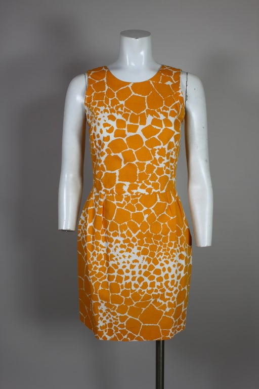 1990's YSL Yves Saint Laurent Giraffe Print Shift Dress image 2